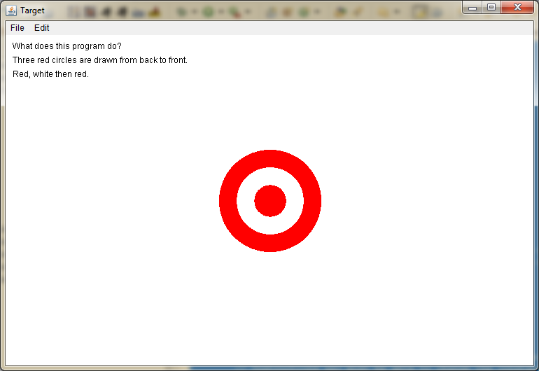 Screen shot of Target output